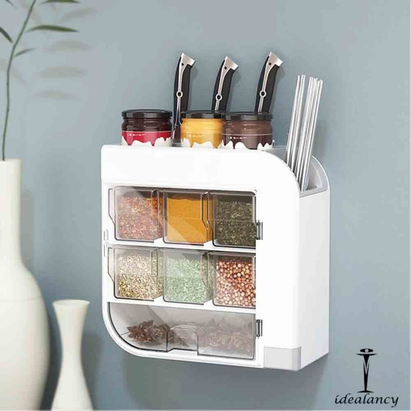 Multi-functional Seasoning Storage Rack Wall Mounted